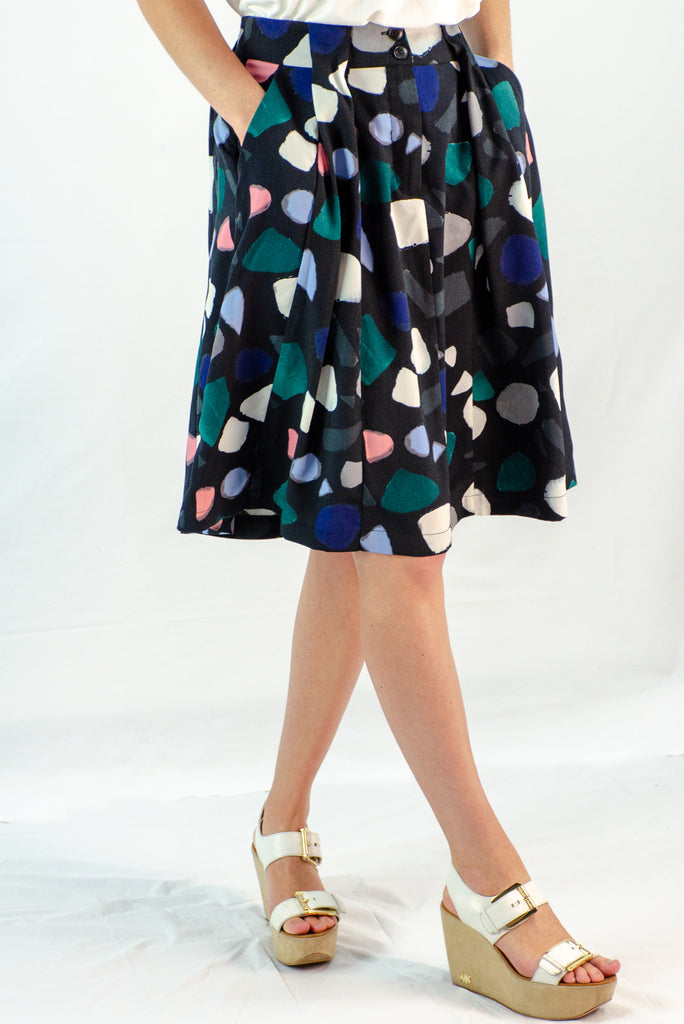 Pleated Midi Skirt in Polka Dot
