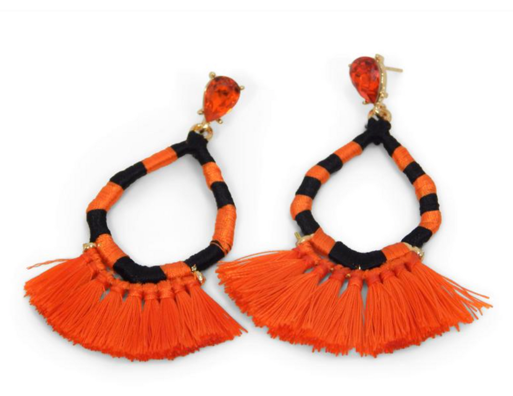Game Day Jewel Earrings w/Tassels - Orange