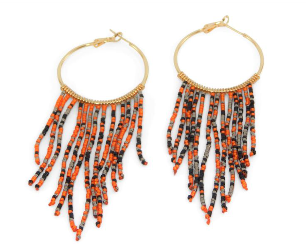 Game Day Hoops w/Beaded Tassels - Orange