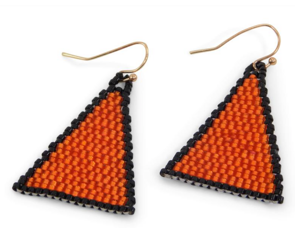 Game Day Beaded Triangle Earrings - Orange