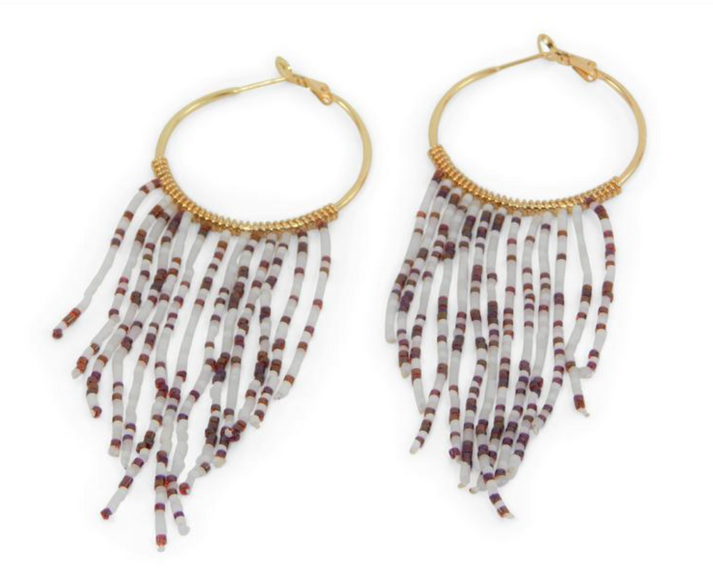 Game Day Hoops w/Beaded Tassels - Crimson