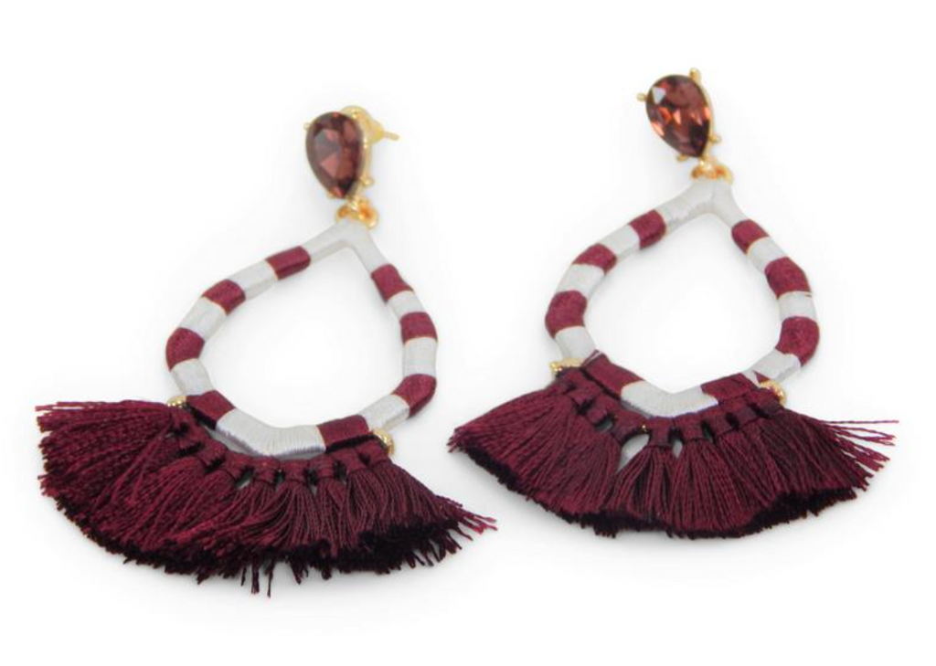Game Day Jewel Earrings w/Tassels - Crimson