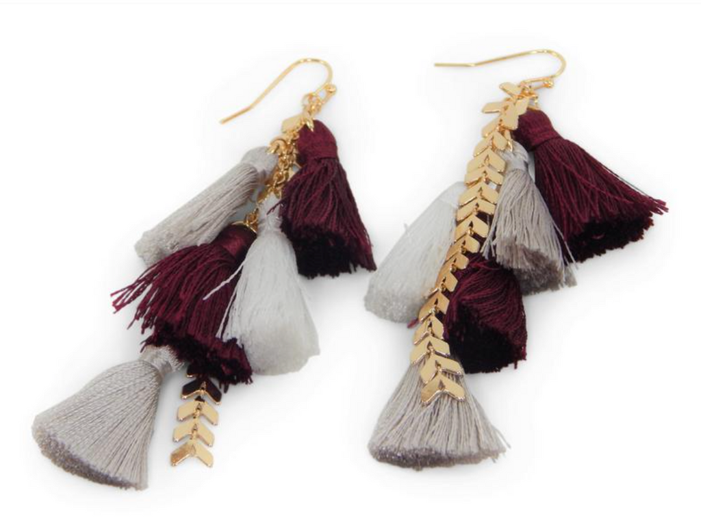 Game Day Tassel Earring - Crimson
