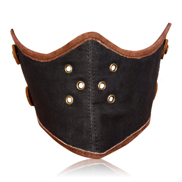 CANVAS FACE MASK DARK BROWN