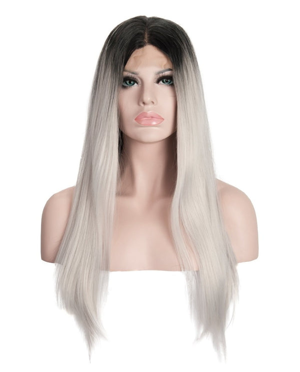 Gray Mix Ombre 22¡± Straight Wig