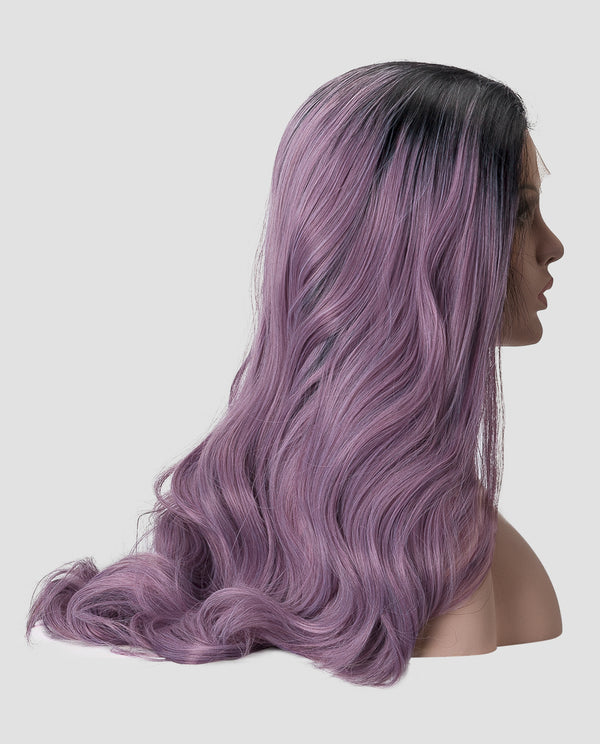 "Black/Lavender Wavy 22"" Synthetic Lace Front Wig"