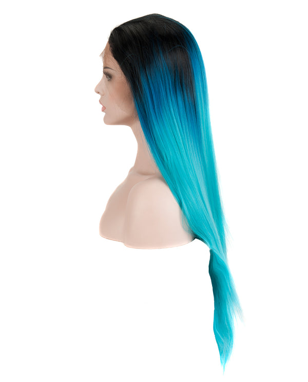 "Blue/Black 24"" Straight Ombre Synthetic Lace Front Wig"