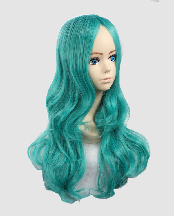 Curly Ice Blue Wavy Wig