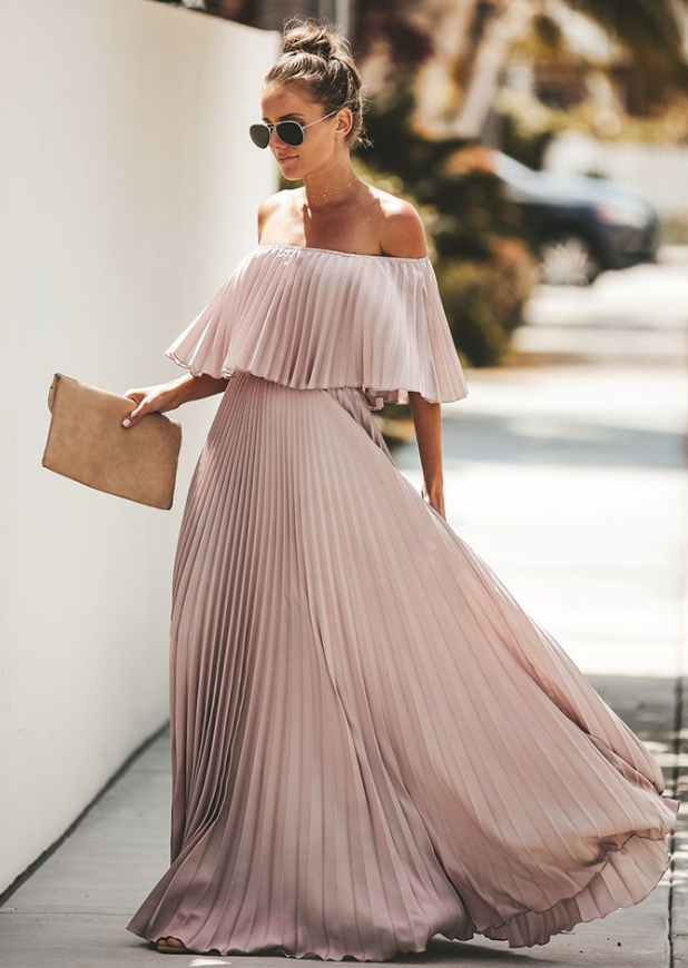 Bohemian Off Shoulder Pleated Dress-2color