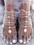 2 Pieces Vintage Punk Multilayer Tassels Foot chain Accessories
