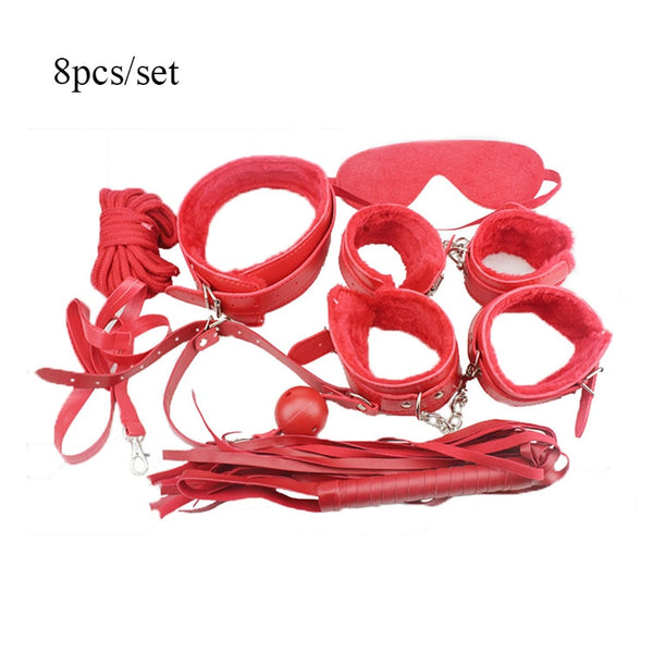 8pcs/Set Sex Adult Games PU Leather Handcuffs Whip Collar Erotic Toy for Couples Sex Bdsm Bondage Restraint Sex Toy