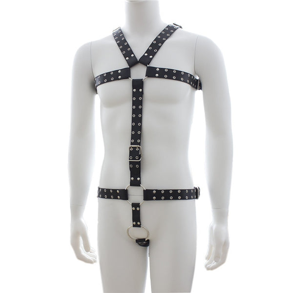 Male Bandage Exotic Lingerie Faux Leather Lingerie Man Chain Lingerie Sex Party Game Costume SM Costume