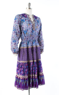 1970s Indian Cotton Gauze Purple Floral Midi Dress | small