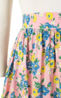 1940s Pink Floral Embroidered Cotton Swing Skirt | medium
