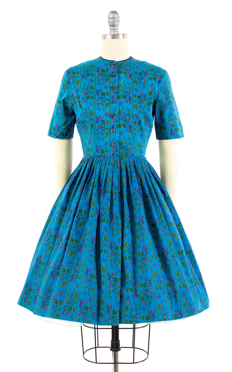 1950s Mode O' Day Blue Floral Cotton Shirtwaist Dress | x-small/small