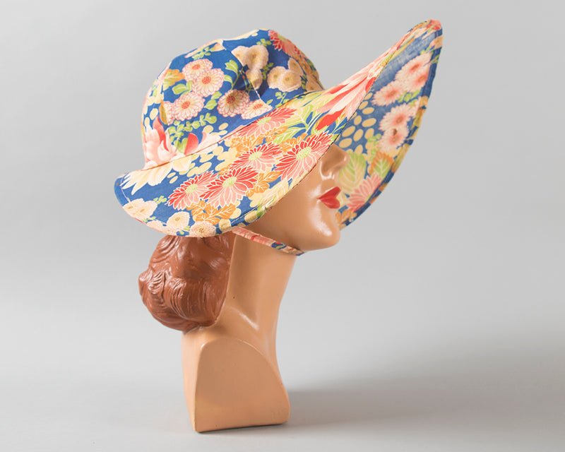 1920s Crushable / Packable Chinese Floral Cotton Sun Hat | medium/large