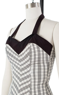 1950s Plaid Bow Swimsuit | x-small/small