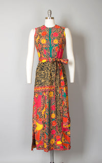 Vintage 1960s 1970s Dress | 60s 70s Mexican Sun Dress Floral Bird Novelty Batik Wax Print Cotton Maxi Day Dress (small)