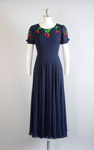 Vintage 1970s Dress | 70s VALENTINO Embroidered Cherries Rayon Chiffon Navy Blue Party Dress Circle Skirt Maxi Evening Gown (medium)