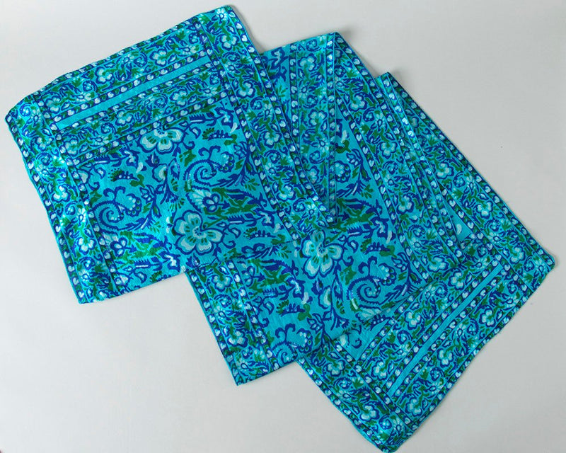 Vintage 1970s Scarf | 70s Indian Silk Floral Print Teal Blue Long Turban Scarf