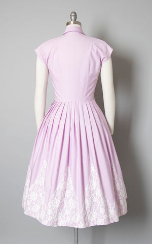 Vintage 1950s Dress | 50s Lavender Purple Pintuck Cotton White Zig-Zag Lace Border Full Skirt Shirtwaist Day Dress (small)