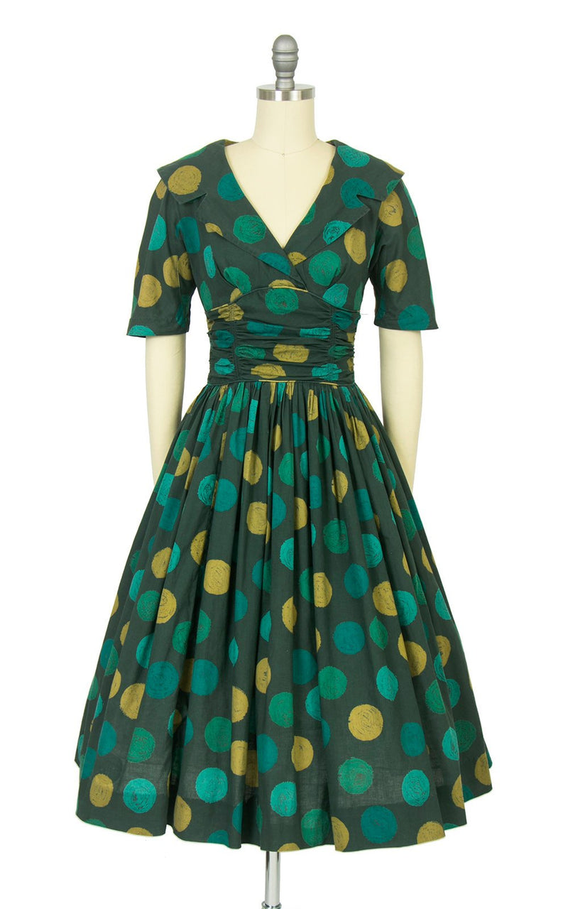 Vintage 1950s Dress | 50s CANDI JONES Polka Dot Green Cotton Shawl Collar Full Skirt Day Dress (x-small/small)