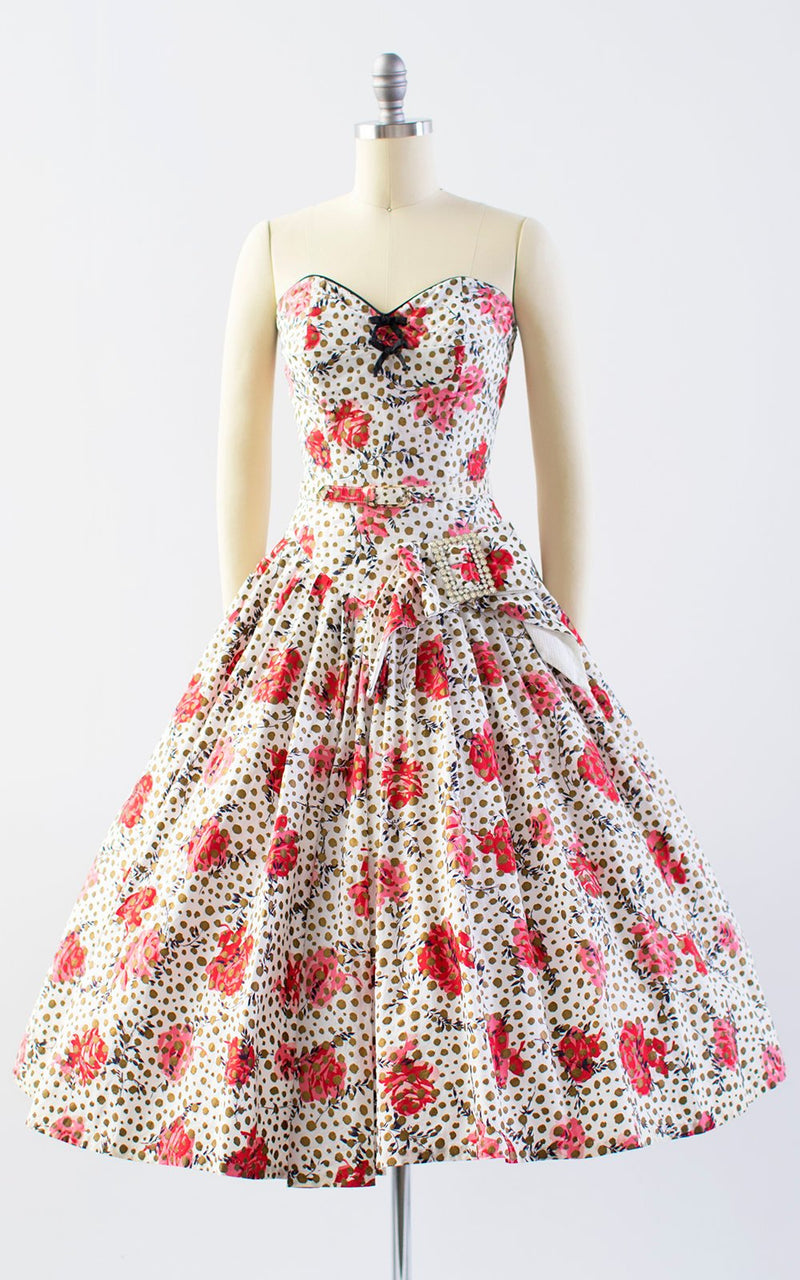 Vintage 1950s Dress | 50s Rose Floral Metallic Polka Dot Cotton Sundress White Strapless Drop Waist Full Skirt Day Dress (x-small)