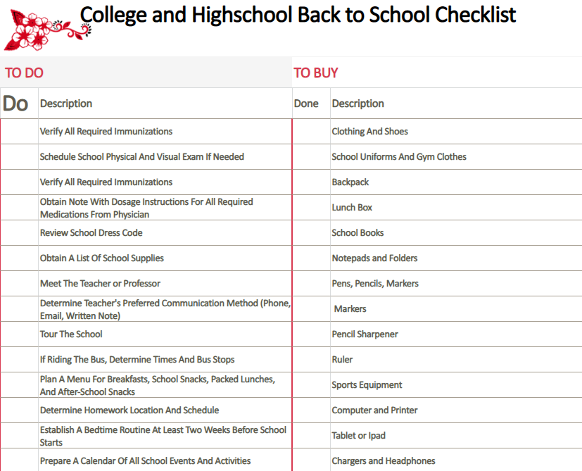College and Highschool Back to School Checklist