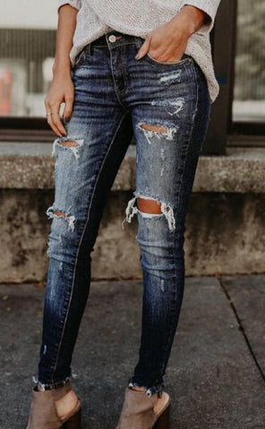 Mid Waist Denim Ripped Jeans