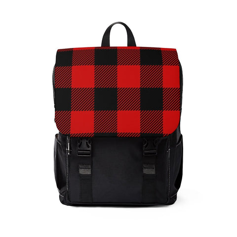 Red and Black Buffalo Check Plaid Unisex Casual Shoulder Backpack