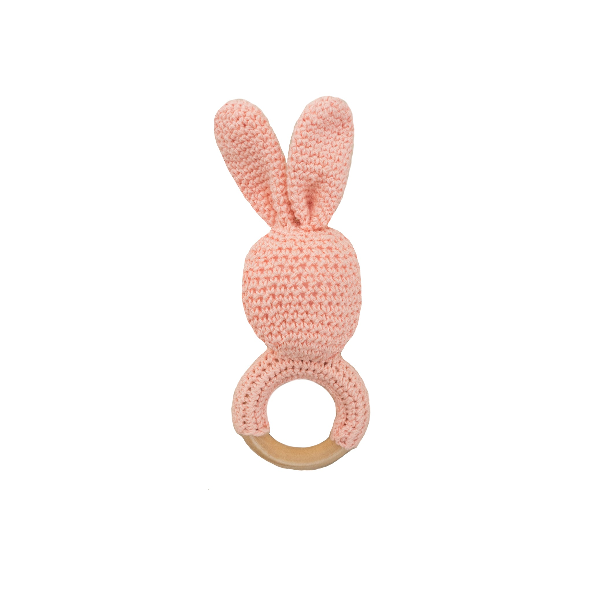 crochet wooden teether- peach