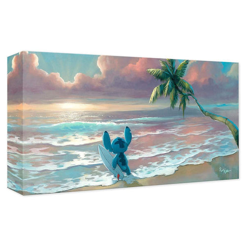 Stitch ''Waiting for Waves'' by Rob Kaz, Giclée on Canvas, Disney Treasure, Lilo & Stitch