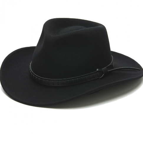 Stampede Western Wool Black Hat with braided leather band Unisex