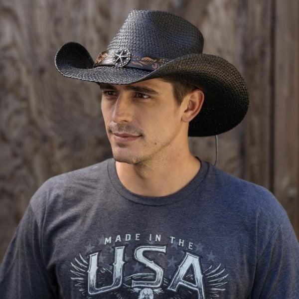 Brown haired man wear grey usa t-shirt and black panama straw western stampede cowboy hat