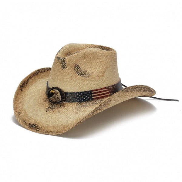 panama straw western cowboy stampede hat with american flag band and bald eagle pendant