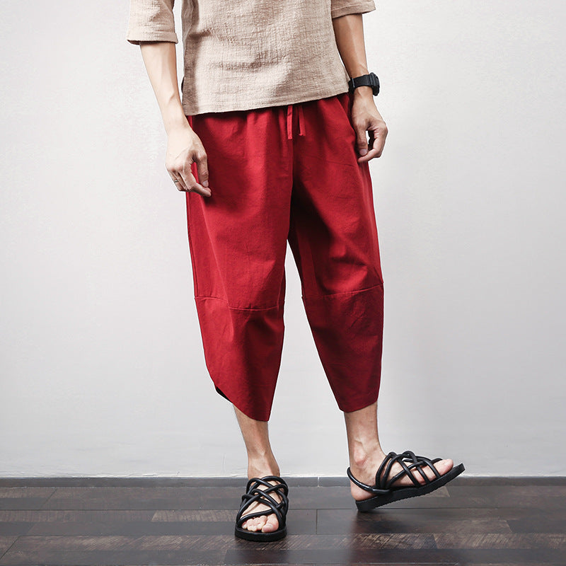 Thai Hill Tribe Fabric Men's Harem Pants with Ankle Straps