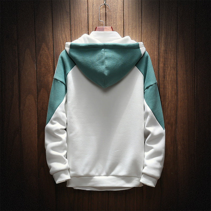 Mens Hoodies Streetwear Pure Color Splicing Pullover Long Sleeve