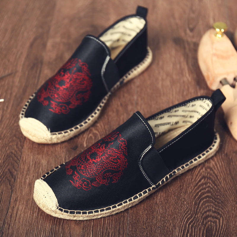 Chinese Elements Dragon Totem Men's Canvas Flats - freakichic