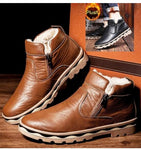 Man British Martin Boots Winter Warm Wool Leather Shoes - freakichic