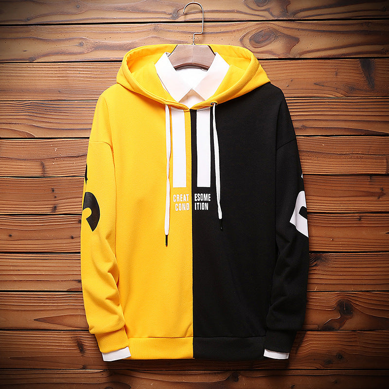 Contrast Color Letter Pullover Hoodie - freakichic