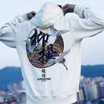 Chinese character Printed Fleece Hoodies - freakichic