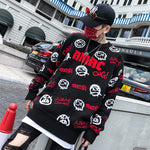 Japan Style Knitwear Men Sweaters Funny Pattern Print Hip Hop Pullovers Knitted Black Sweater - freakichic