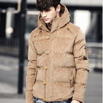 Men's corduroy hooded solid color padded coat - freakichic