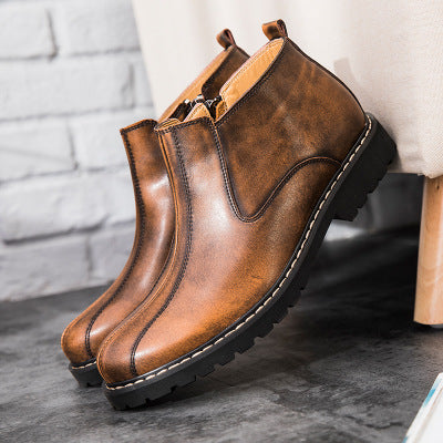 Casual men's shoes side zip simple Martin boots - freakichic