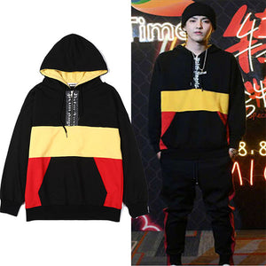 Stitching colorblock loose hooded men and women hoodies