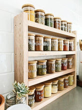 Load image into Gallery viewer, Little Label Co Pantry jars with labels sitting in the timber pantry rack. The shelf sits on a grey stone bench with white subway tiles behind.