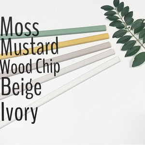 sample of colours available, moss, mustard, wood chip, beige, ivory.