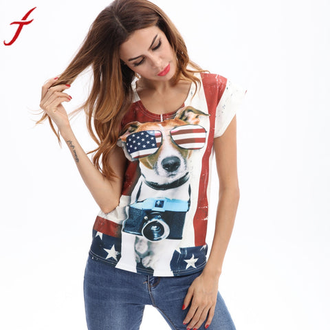 Women T Shirt Tops Novelty Short Sleeve Funny Pug Printed Dog Loose Leisure Shirts cool Hipster tees cute girl t shirt