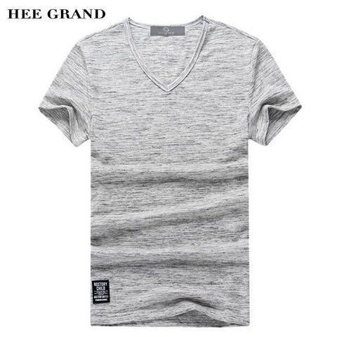 HEE GRAND Summer Men T- Shirts 2018 Stylish V-Neck Contrast Color Decoration Cotton Breathable Material Male Top Tees MTS2265