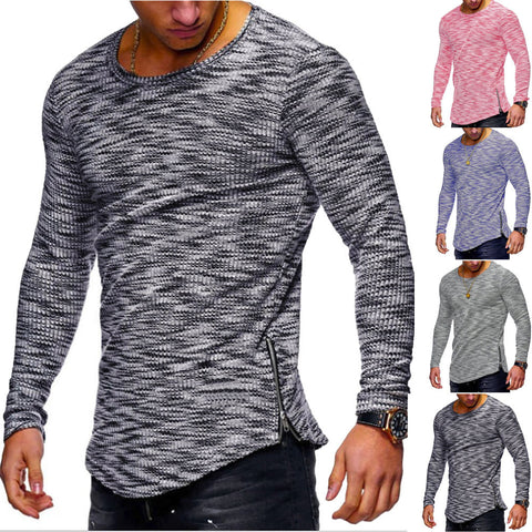 Men Casual Autumn Long Sleeve Slim O Neck Zipper Color Yarn Tops Blouse Shirts